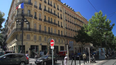 Traffic in front of Building in Marseille Stock Footage