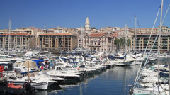 Boats in Marseille Harbor - stock footage
