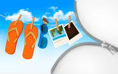 flip flops, sunglasses and photo cards hanging on a rope. summer memories bac - stock illustration