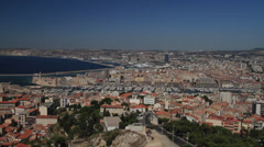 Elevated Wide shot of Marseille France Stock Footage