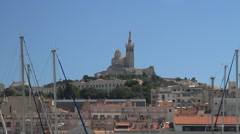 Notre-Dame de la Garde in the distance - stock footage