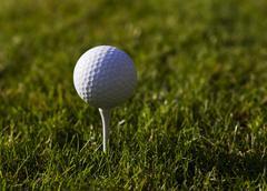 Golfball on Tee - stock photo