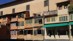 Shot of outside of Ponte Vecchio Bridge Stock Footage
