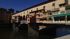 Medium wide Shot of Ponte Vecchio Bridge Stock Footage