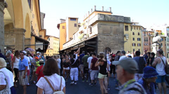 Crowd of people on Ponte Vecchio Bridge Stock Footage