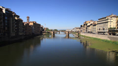 Ponte Vecchio Bridge and surrounding Buildings Stock Footage