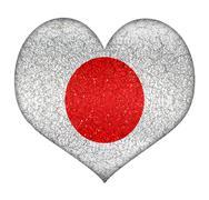 japan grunge heart shape flag - stock illustration