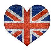 england grunge heart shape flag - stock illustration