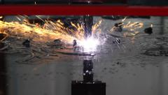 Sparks Fly as CNC Plasma Cutter Cuts Metal Stock Footage