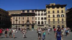 Tourists in Piazza della Signoria Stock Footage