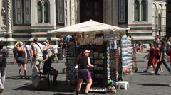 Outdoor street vendor in front of the Basilica di Santa Maria del Flore Stock Footage