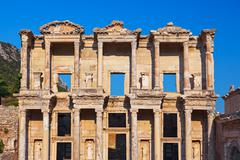 Ancient Celsius Library in Ephesus Turkey - stock photo