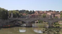 Bridge over Tiber River in Rome Stock Footage