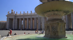 Close up of Bernini Fountain in St. Peter's Square - stock footage