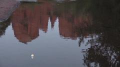 Cathedral Rock and Moon Reflection Sedona Arizona - stock footage