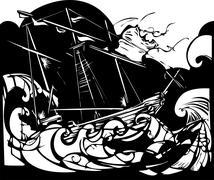 Storm ship Stock Illustration