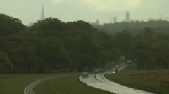 RICHMOND PARK  STORM WITH CITY OF LONDON BEHIND Stock Footage