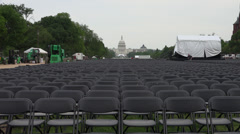 National Mall chairs, for commencement, GW University, 4k Stock Footage