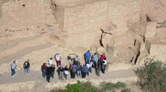Mesa Verde Indian ruins cliff dwelling ranger tourists 4K 087 Stock Footage