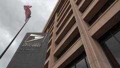 USPS Headquarters, sign, flag, DC, Post Office Dept. Stock Footage