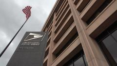 USPS Headquarters, sign, flag, DC, 4k uhd Stock Footage