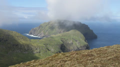 Isle of Soay viewed from Hirta St Kilda Scotland Stock Footage