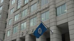 ICE - US Immigration and Customs Enforemcemnt headquarters, DC zoom in sign 4k Stock Footage