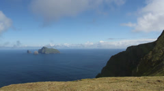 Isle of Boreray viewed from Hirta St Kilda Scotland - stock footage