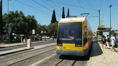 Tram in Lisbon Going Away Stock Footage
