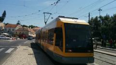 Modern Tram Arriving , Lisbon Stock Footage