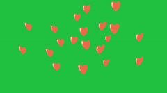 Stock Video Footage of Cartoon Hearts Rising:  Looping + Matte