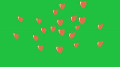 Cartoon Hearts Rising:  Looping + Matte Stock Footage
