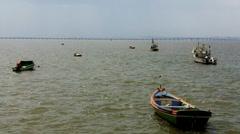 Vasco da Gama Bridge seen from Alcochete Stock Footage