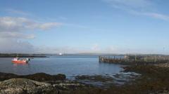 Calmac ferry MV Loch Portain arriving Leverburgh Stock Footage