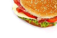 Cheeseburger isolated on white Stock Photos