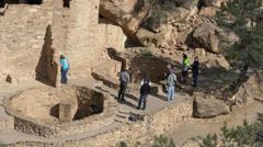 Mesa Verde Park ranger tourist Cliff Palace 4K 086 Stock Footage