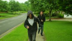 Run from the police running cop cops Stock Footage