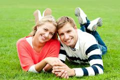 Couple outdoors enjoying the fresh air Stock Photos