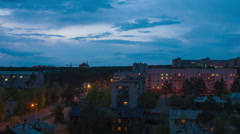 Night city house timelapse with pan Stock Footage