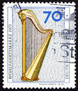 Postage stamp Germany 1973 Pedal Harp, 18th Century - stock photo