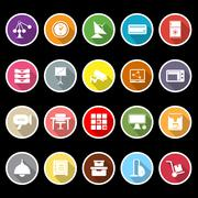 general office icons with long shadow - stock illustration