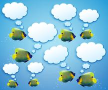 angelfish with speech bubbles. - stock photo