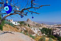 Stock Photo of Tree and evil eye amulet in Cappadocia Turkey
