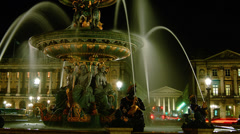 Fontaine de la Concorde at night,time lapse,4k to multimedia Stock Footage