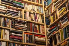 Secondhand bookstore shelves corner Stock Photos