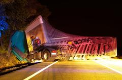 Overturned truck in crash Stock Photos