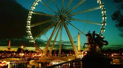 Place de la Concorde, Egyptian Obelisk,Ferris Wheel in Paris, France, time lapse - stock footage
