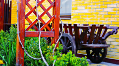 View on a wooden cart in front of house Stock Footage