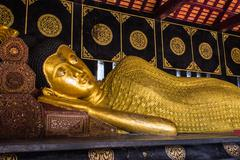 budha statue in wat chedi lung - stock photo