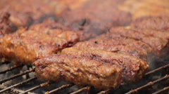 Barbecue Grill Minced Meat Kebabs 4 Stock Footage